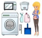 Vrouw en huishoudenvoorwerpen Stock Foto