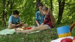 Vrouw en jonge geitjes op een picknick bij de bosrand die - het voedsel voorbereiden stock footage