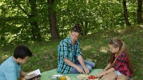 Vrouw en jonge geitjes op een picknick die bij de bosrand ontspannen stock videobeelden