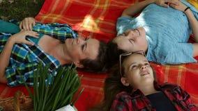 Vrouw en jonge geitjes op een picknick die op deken ontspannen stock footage