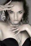 Vrouw en juwelen Royalty-vrije Stock Afbeeldingen