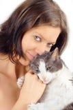 Vrouw en kat Royalty-vrije Stock Foto