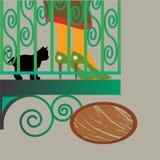 Vrouw en kat bij balkon Stock Fotografie