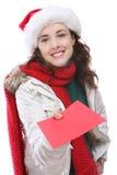 Vrouw en Kerstkaart Stock Afbeelding