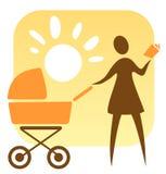 Vrouw en kinderwagen Royalty-vrije Stock Afbeelding