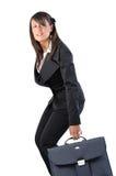 Vrouw en koffer Royalty-vrije Stock Foto's