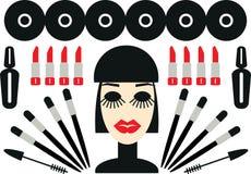 Vrouw en kosmetische geplaatste de illustratiepictogrammen van Make-upminimalism Royalty-vrije Stock Afbeeldingen