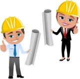 Vrouw en Man Architect met omhoog Duim Stock Fotografie