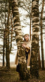 Vrouw en man in de etnische historische wederopbouw van de kostuumcontext Royalty-vrije Stock Foto