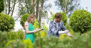 Vrouw en man die installaties in botanische tuin onderzoeken stock videobeelden