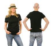 Vrouw en man die lege zwarte overhemdsvoorzijde en rug dragen stock fotografie