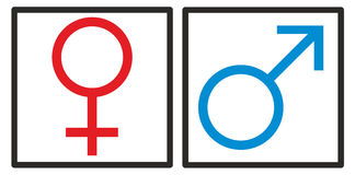 Vrouw en man, meisjes en jongens, vrouwelijke en mannelijke teken Royalty-vrije Stock Foto