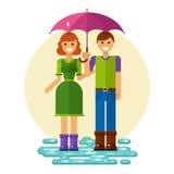 Vrouw en man onder de paraplu vector illustratie