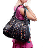 Vrouw en manierzak (handtas) stock fotografie