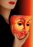 Vrouw en masker Stock Fotografie