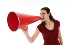 Vrouw en Megafoon stock foto