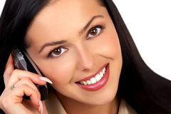 Vrouw en mobiele telefoon Royalty-vrije Stock Fotografie