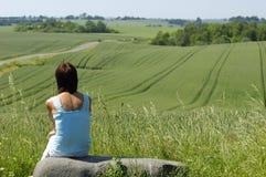 Vrouw en natur Stock Fotografie