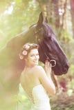 Vrouw en paard Royalty-vrije Stock Fotografie