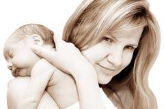 Vrouw en pasgeboren baby Royalty-vrije Stock Afbeelding