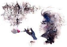 Vrouw en sigaret Stock Afbeeldingen
