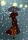 Vrouw en Sneeuw Stock Foto's