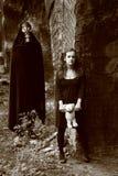 Vrouw en stalker Royalty-vrije Stock Fotografie