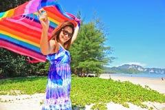 Vrouw en strand Napparatthara Stock Foto