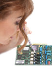 Vrouw en technologie   Stock Afbeelding