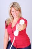 Vrouw en Telefoon royalty-vrije stock afbeelding