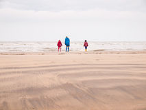 Vrouw en twee kleine kinderen op de winterstrand Stock Afbeelding