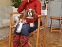 Vrouw en Van een hond Royalty-vrije Stock Fotografie