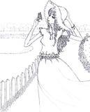 Vrouw en vlinder de illustratie van de de tekeningsschets van de lijnkunst Stock Foto's