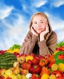 Vrouw en voedsel royalty-vrije stock afbeeldingen