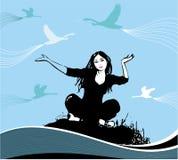 Vrouw en vogels Stock Afbeelding
