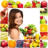 Vrouw en vruchten stock fotografie