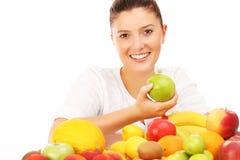 Vrouw en vruchten Stock Foto