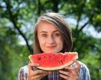 Vrouw en watermeloen Royalty-vrije Stock Foto