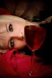Vrouw en wijn Royalty-vrije Stock Foto's