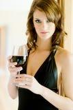 Vrouw en Wijn Stock Foto