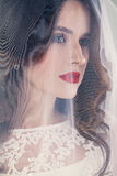 Vrouw Fiancee met Witte Sluier royalty-vrije stock foto