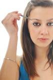 Vrouw geïsoleerdt oog - brow schoonheidsbehandeling stock foto's