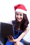 Vrouw gebruikte Tablet Stock Foto's