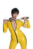 vrouw in geel latexkostuum Royalty-vrije Stock Foto