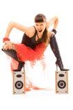 Vrouw gek met muziek Stock Foto's