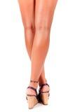 Vrouw gelooide benen, achtermening. stock afbeelding