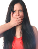Vrouw gesloten mond Stock Afbeeldingen