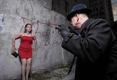 Vrouw in gevaar Royalty-vrije Stock Foto