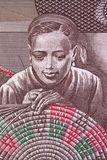 Vrouw geweven mand een portret