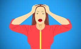 Vrouw gezette hand op hoofd voor doen schrikken geschokte bang gemaakte ontzete parodieemoties Vector illustratie EPS10 stock illustratie